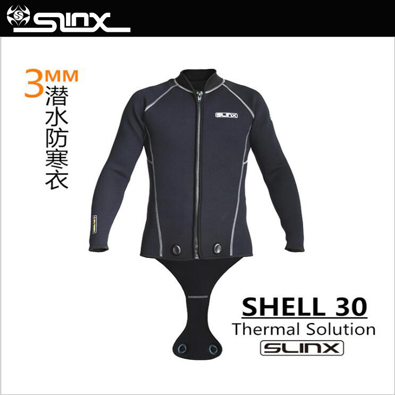 SLINX Men 3mm Neoprene Men Scuba Diving Suit Snorkeling Spearfishing Wetsuit Surfing Windsurf Keep Warm Jacket Connecting Crotch