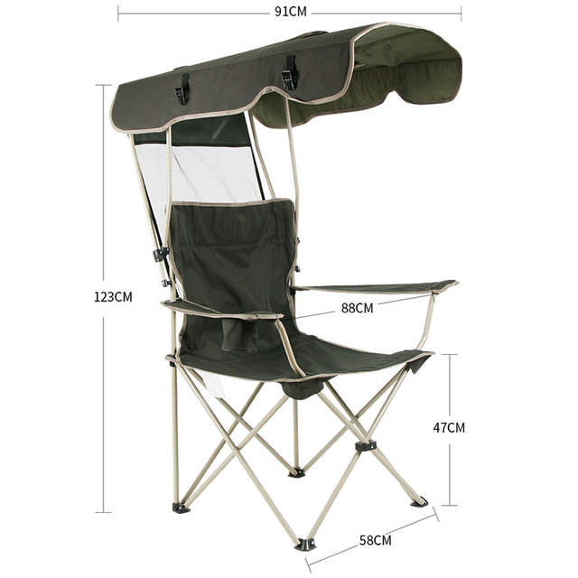 Outdoor Portable Folding Chair Detachable Awning Thicken Steel Pipe Double Oxford Cloth Fishing Beach Shade Canopy