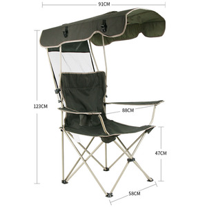 Image 5 - เก้าอี้กลางแจ้งแบบพกพาพับที่ถอดออกได้ Thicken เหล็กท่อคู่ Oxford ผ้าตกปลาชายหาด Shade Canopy Camping เก้าอี้
