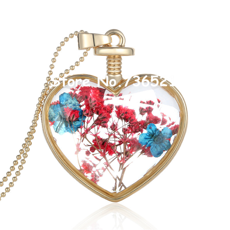 2017 Fashion Genuine Dry Flower Cabochon Heart Glass Pendant Long Necklace Novelty Jewelry Gift For Women Christmas Deals