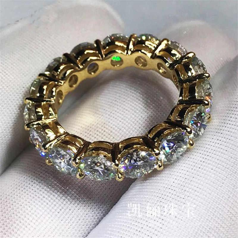 Choucong 3 цвета бесконечное кольцо желтое золото заполненное 925 серебро обручальное кольцо для женщин 4 мм 5A Циркон ювелирные изделия