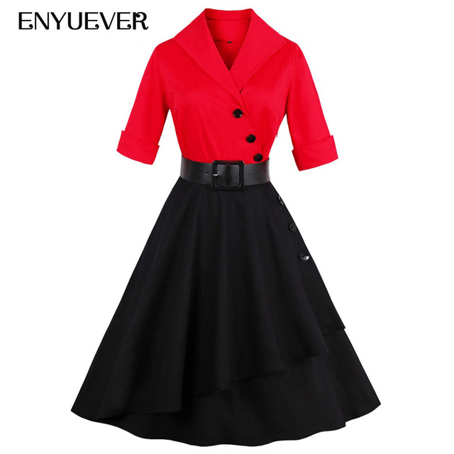 Enyuever D hiver Rockabilly Robe Rouge Noir Casual Manches Ceinture Robe 50  s Vintage Robe e19eb0b04db