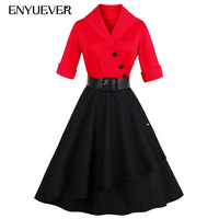 Enyuever Autumn Rockabilly Dress Red Black Casual Sleeve Belt Robe 50s Vintage Dress Plus Size Women