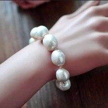 S925 Стерлинговое Серебро естественный белый барокко большой 11-13 мм жемчужный браслет модные эластичные браслеты для женщин