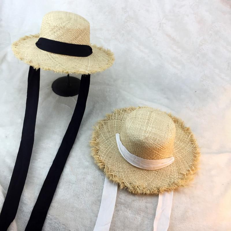 Summer Women Beach Raffia Black White Ribbon Hat Bow Raffia Hat Temperament Flat Cap Straw Hats Women's Seaside Hat