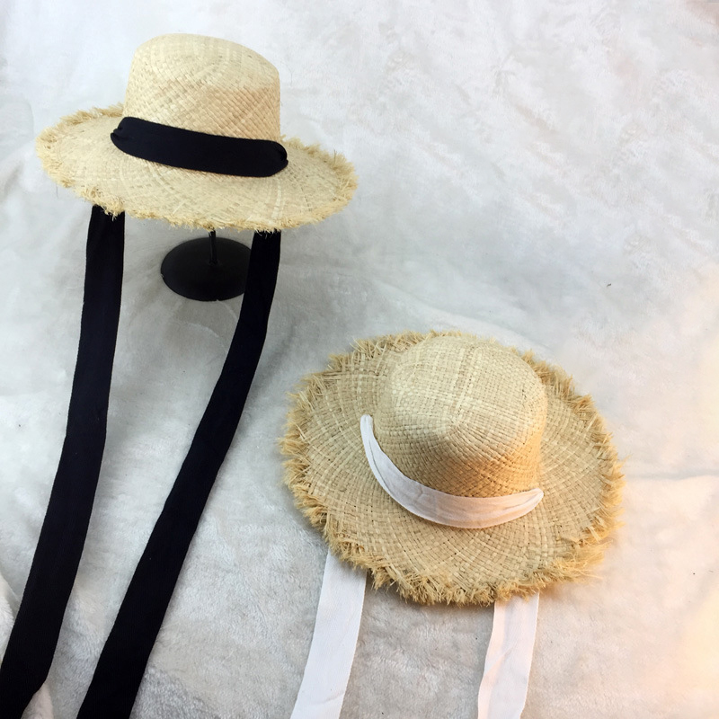 Summer Women Beach Raffia Black White Ribbon Hat Bow Raffia Hat Temperament Flat Cap Straw Hats Women's Seaside Hat