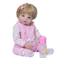 23 Realistic Boneca Reborn Dolls For Girl Full Silicone Vinyl Baby Dolls With Gold Wig So