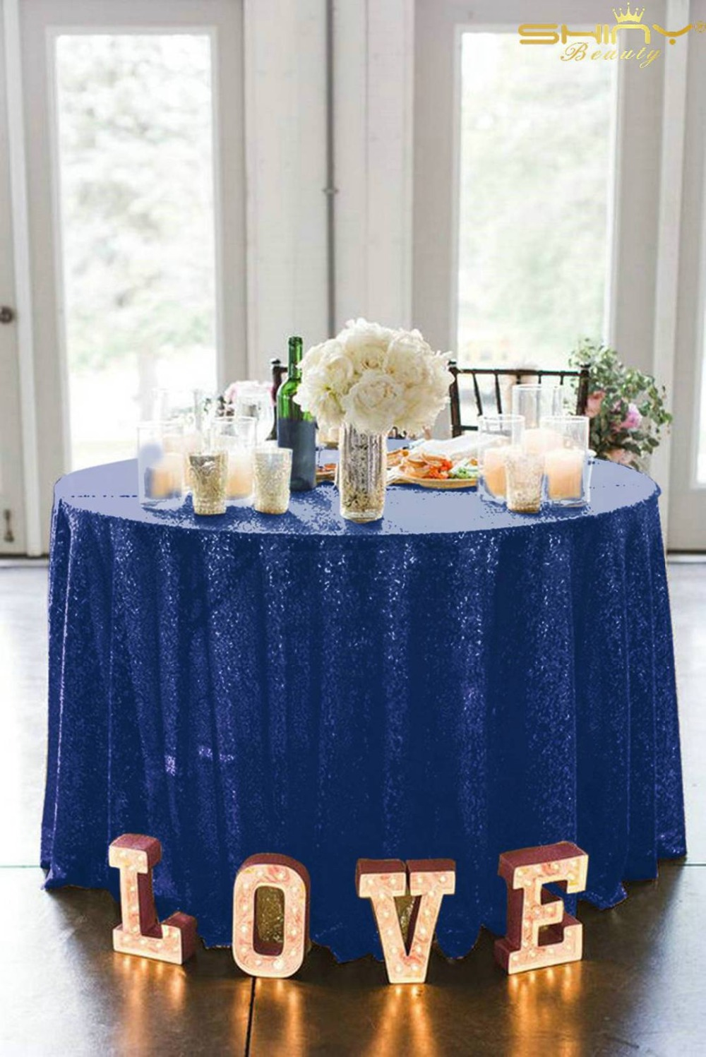 90 Inch Round Navy Blue Sequin Fabric Tablecloth For