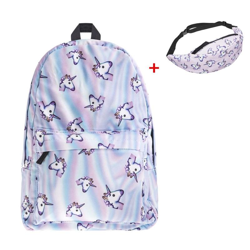 Единорог Рюкзак 3D печать Для женщин softback мешок Школьные ранцы для подростков Обувь для девочек Модные рюкзаки SAC DOS Bolsa feminina Mochila