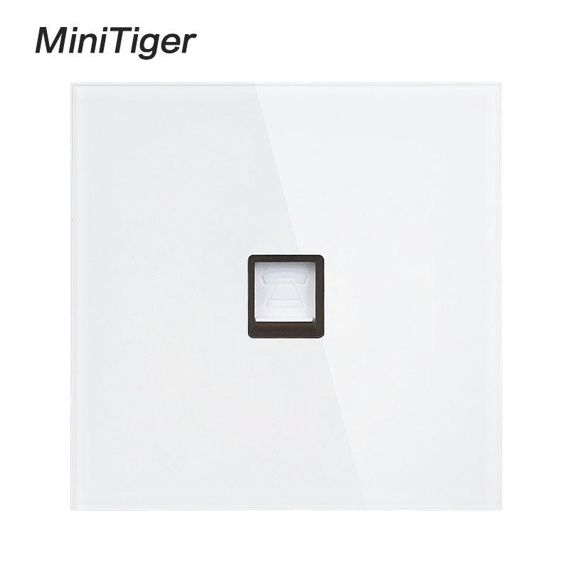 Minitiger White Luxury crystal Tempered Glass Frame Single RJ11 Tel Jack Telephone Socket Outlet Wiring Accessories