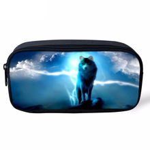 Noisydesigns Cool Animal Wolf Moon Galaxy Sky Printed Women Cosmetic Cases Pencil Case for School Boys Gilrs Fashion Makeup Bags