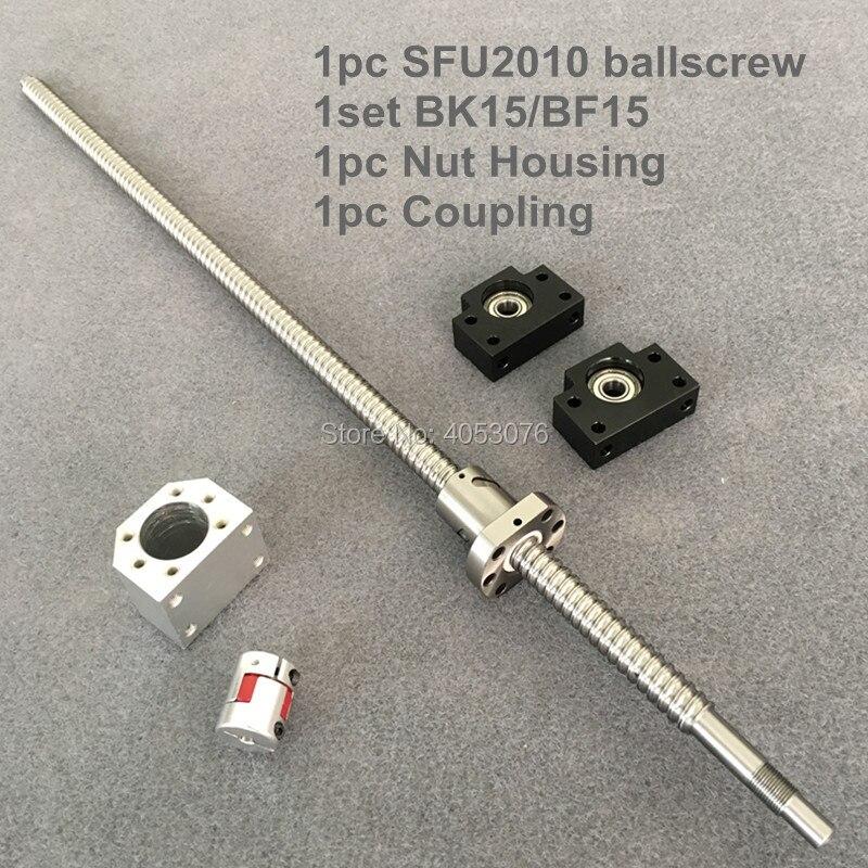 Vis à billes SFU 2010 vis à billes 300-750mm avec extrémité usinée + 2010 écrou à billes + support d'extrémité BK/BF15 + boîtier d'écrou + couplage pour CNC