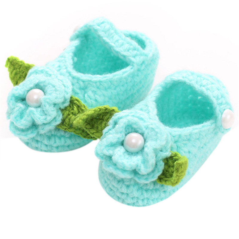 Lovely Newborn Baby Girls Kids Prewalker Soft Soled Shoes Crochet Knitting Footwear Infant Toddler Princess First Walkers