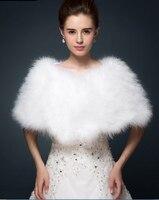 Luksusowy Biały ivory bride kurtka wzruszenia ramion bolerka płaszcz Futro Bolerka ślubne strusich piór bridal party szale