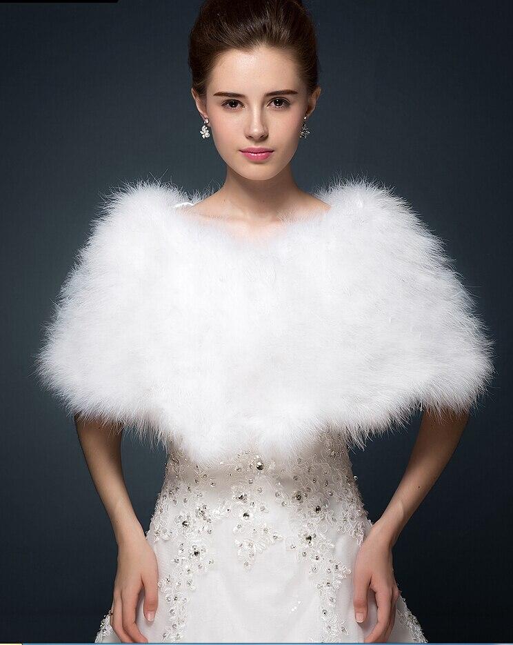 luxe blanc ivoire plumes dautruche de fourrure de mariage marie bolros veste haussement manteau - Bolero Fourrure Mariage
