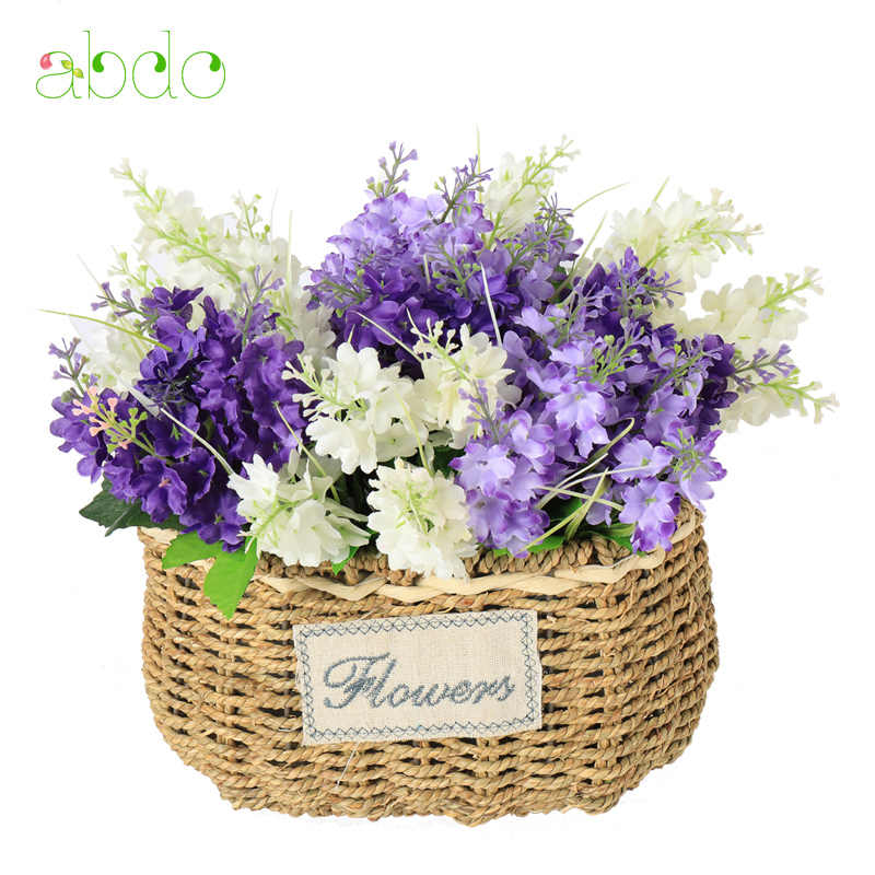 1Pcs  Lavender  Artificial Flowers Branch  Mother  Day  Home Decorating Artificial Flowers Lace Decorative  Non-woven Fabrics
