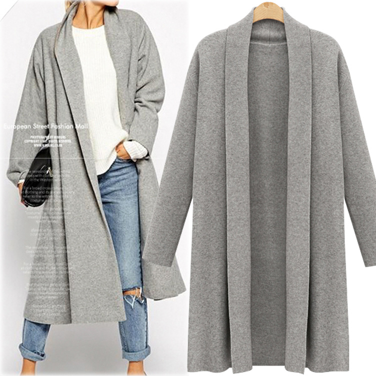 Plus Size Solid Long Knitted Cardigan Women For Autumn Sueters De Mujer Moda 2019  Knit Cardigan Women Coat Jumpers Ladies