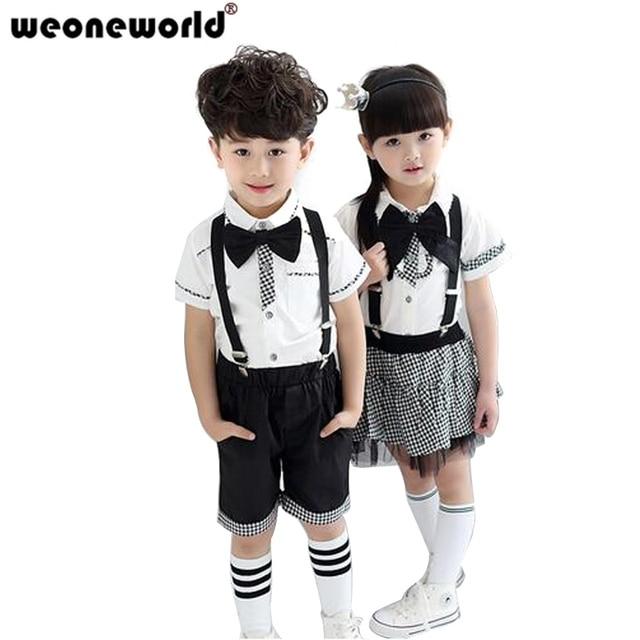 c2c54b4f8 WEONEWORLD 2018 New Fashion Summer Baby Boys Girls School Uniform Class  Suit Cotton Children Sets Kids