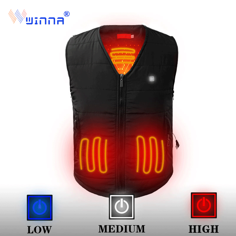 NEW camping heated vest battery woman men vest winter warm thick vest 3 level Power supply