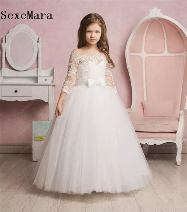 Off Shoulder White Lace Ball Gown Flower Girl Dress for Wedding Three Quarter Sleeve Girls First Communion Dress size 2-16 plus size off the shoulder bodycon dress