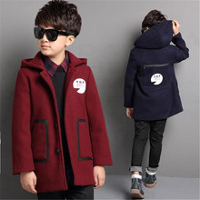 2017 Children Boy Clothing Hooded Buttons Toddler Fall Teenages Kids Boys Wool Coat Autumn Winter Outerwear Jacket 6-15T Blends