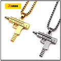 NEW Gold Chain Pistol Pendant Unisex  Gold Plated Submachine Gun Pendant Chain Maxi Necklace For Men / Women Hip Hop Jewelry