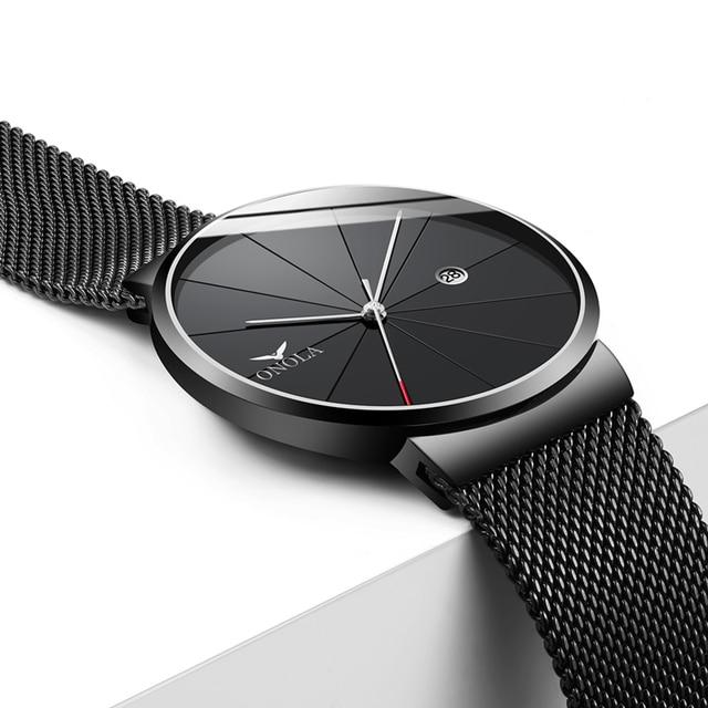 Fashion Concise Mesh Belt Metal Men Wristwatch Cool  Newfashioned Quartz Youth Watch ONOLA Genuine New Model