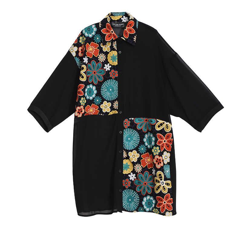 Женское шифоновое платье-рубашка, черное платье средней длины с длинными рукавами и цветочной вышивкой, модель 4784 большого размера в корейском стиле на лето, 2019