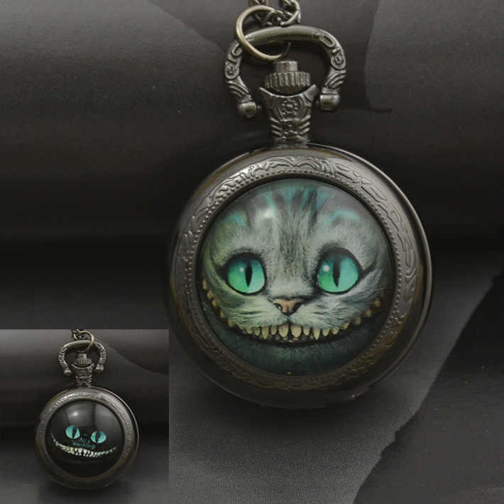 fashion alice in wonderland quartz cat pocket watch necklace woman fob watches black round convex lens glass picture lady 2016