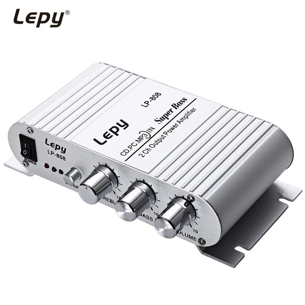 Lepy LP - 808 12V Protable HiFi Audio Stereo Amplifier Wired Super Bass Amplificador for Motorcycle PC Mp3 with Volume Control