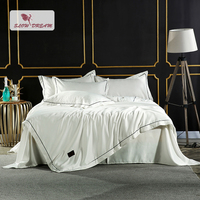 SlowDream Luxury White Silk Bedding Set Silky Duvet Cover Set Home Textiles Soft Embroidery Bed Set With Flat Sheet 4Pcs