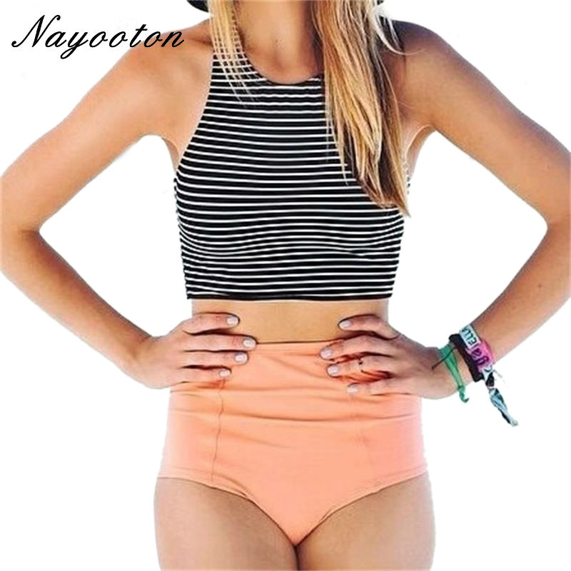 2016 new black white striped design Two Piece swimsuit high waist women's swimming suit Simple and simple bikini swimwear D019