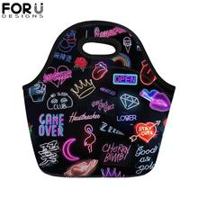 FORUDESIGNS Hip Hop Rock Music Printing Lunch Bag for Kids Portable Thermal Insullate Food Women Girl Boy Lunchbag Tote