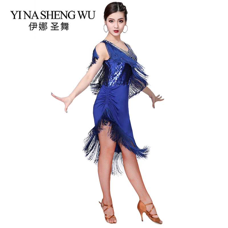 New Latin Dance Sequin Clothing Women Adult Latin Dance Tassel Sequin Competition Dress Dance Practice Clothes Sexy Rumba Dress