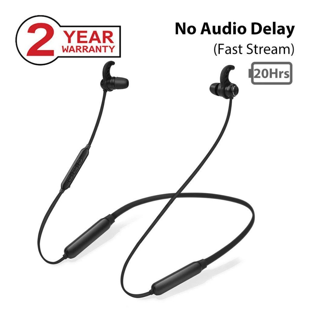 Avantree NB16 20Hrs Bluetooth Neckband Earbuds For TV PC, No Delay, Magnetic Wireless Earphones