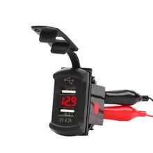 Universal 12-24V Dual USB Car Adapter Waterproof LED Mobile Phone Charger USB Car Charger Socket universal 2000ma usb car charger adapter for digital devices white 12 24v