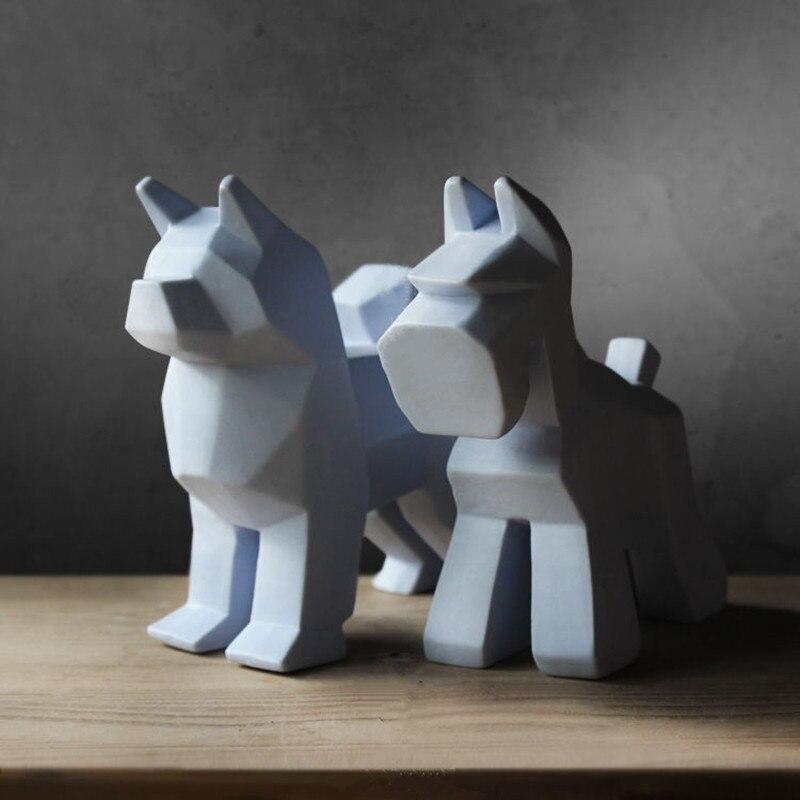 Statue en céramique faite main pour chien décoration Schnauzer Sculpture ameublement Animal saint valentin cadeau L3019