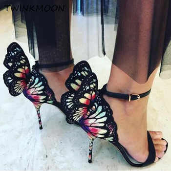 3D Angel Wings High Heels Women Shoes Metallic Embroidered Butterfly Sandals Leather Ankle Wrap Summer sandalias mujer 2019 - DISCOUNT ITEM  47% OFF All Category