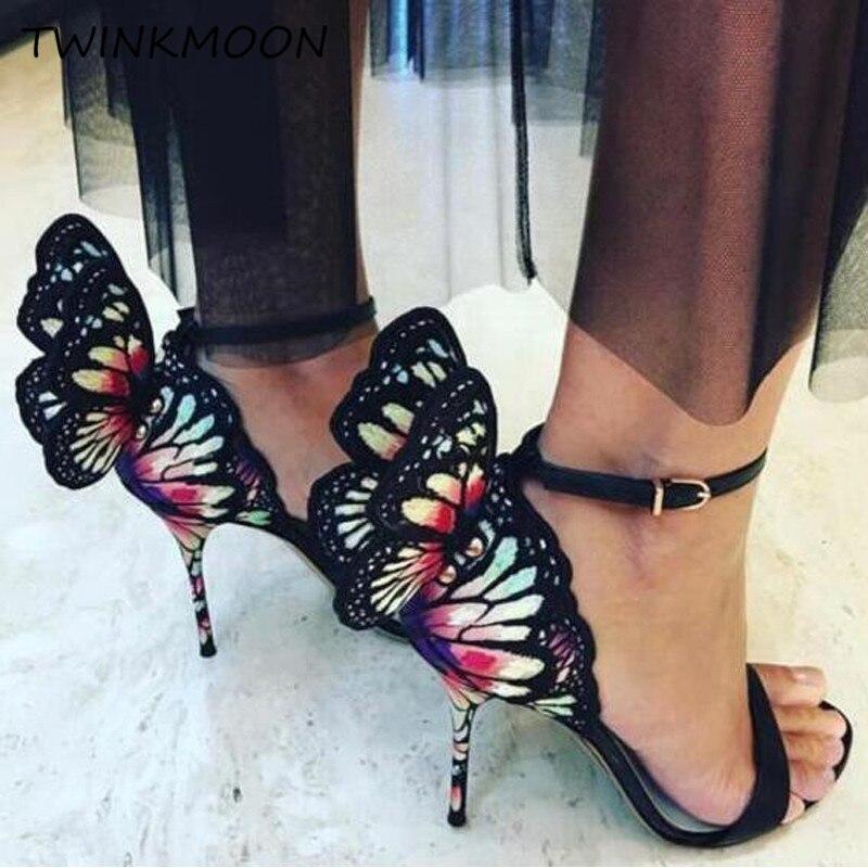 금속 수 놓은 나비 샌들 가죽 3d 천사 날개 하이힐 여성 신발 발목 랩 파티 신부 샌들 여름 2019-에서하이힐부터 신발 의  그룹 1