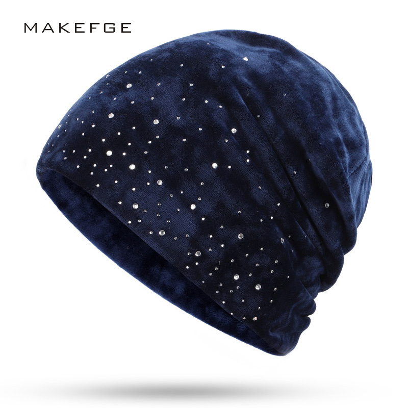 New Fashion Velvet Diamond Decorative   Beanies   Hat Rhinestone   Beanie   Spring Autumn Winter Woman HatS Warm Soft Cap Bone   Skullies