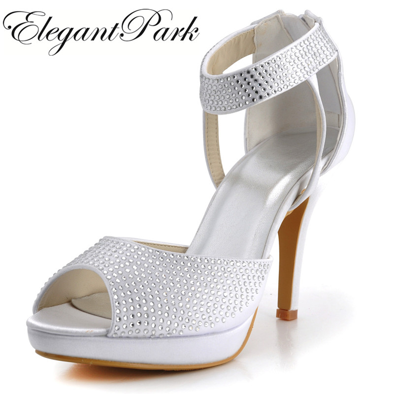Summer Woman sandals high heel White bridal wedding shoes rhinestone satin lady bride evening party pumps ivory silver EP2059-PF