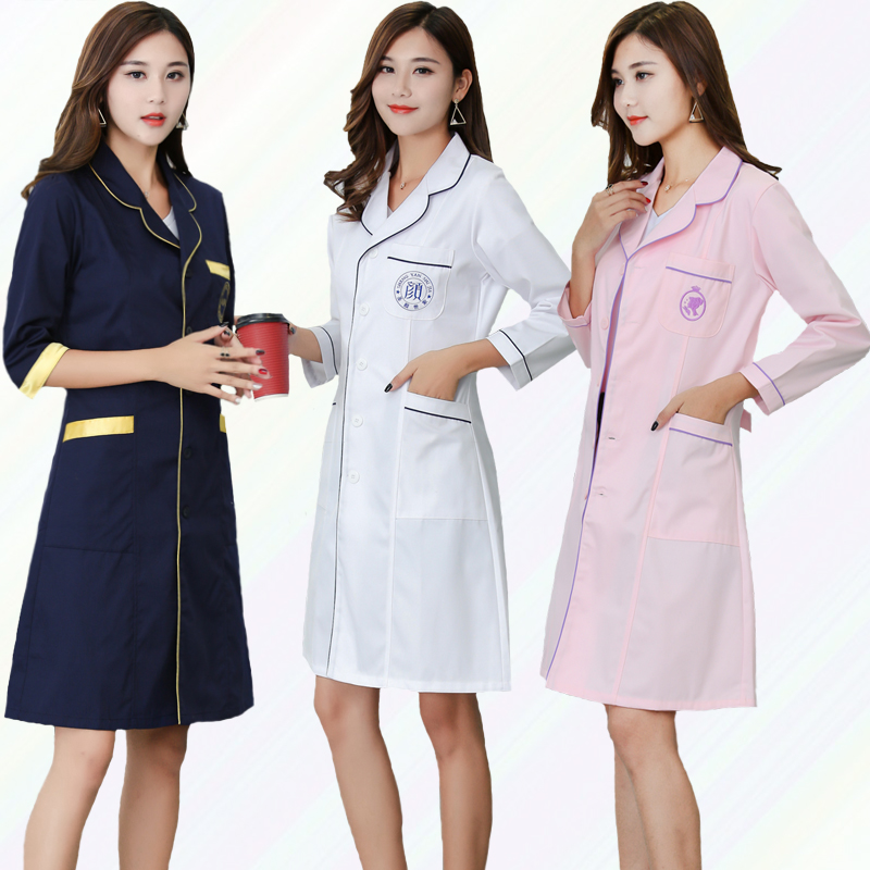 2018 summer ladys white short sleeve lab coat doctors surgeon scientist outfit fancy dress costume warehouse long