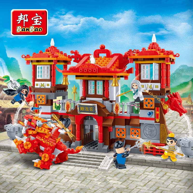 BanBao Kung Fu Educational Toys For Children Kids Gifts Super Hero Dragon Temple Mount Chinese Style Compatible with Legoe verrypuzzle clover magic cube speed twisty puzzle cubes game educational toys gifts for kids children