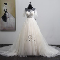 Elegant White Wedding Dresses A line Short Sleeve Zipper Back Tulle Bride Wedding Gowns Sweep Train