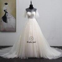 Elegant White Wedding Dresses A line Short Sleeve Zipper Back Tulle Bride Wedding Gowns Sweep Train