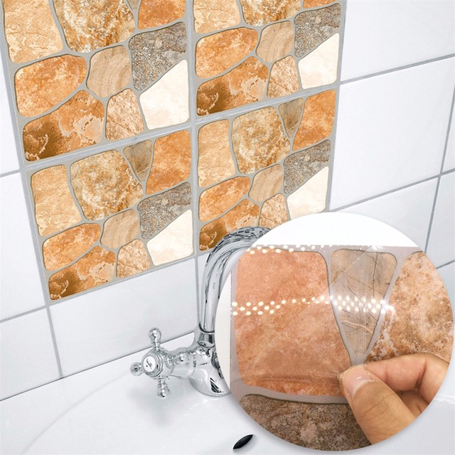 Yanqiao Yellow Stone Effect Tiles Sticker Easy To Clean Living Room Bedroom Kitchen Bathroom Home