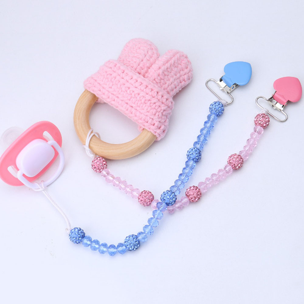 Folder Crystal Nipple Holder Pacifier Clips Pram Hanging Strap Soother Chain