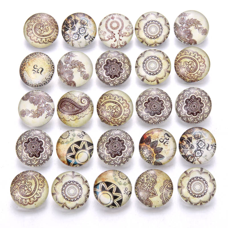 Bracelet Jewelry Buttons Flowers 18mm Silver Vintage Fit Glass 10pcs/Lot New