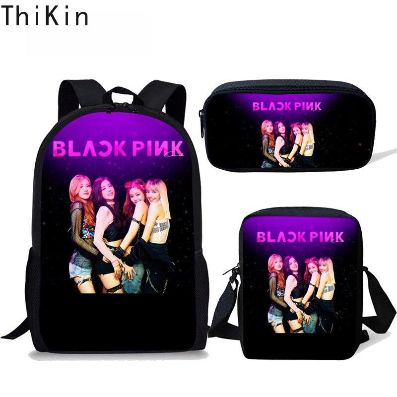 THIKIN K POP Blackpink School Bag for Girls Super Famous Star Kids Backpack Teenager Children Bagpack Schoolbag Mochila Escolar