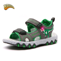 Baby Boys Sandals Fashion Light Up Kids Shoes Summer 3D Dinosaur Anti Slip Children Beach Shoes 2019 Casual Toddler Sandals
